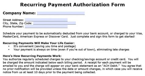 recurring credit card authorization form template recurring payment authorization form template