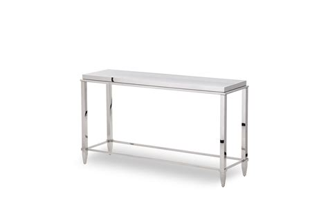 stainless steel console table modrest agar modern glass stainless steel console table