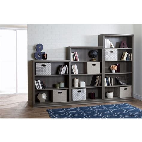 south shore morgan 4 shelf bookcase 4 shelf bookcase with mixed materials in natural z1510343