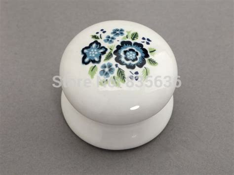 country kitchen cabinet knobs ceramic knobs white blue shabby chic drawer knob pulls