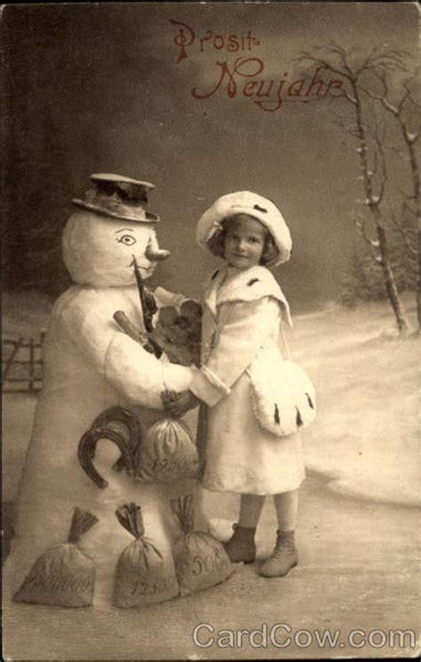 prosit neujahr happy  year snowmen