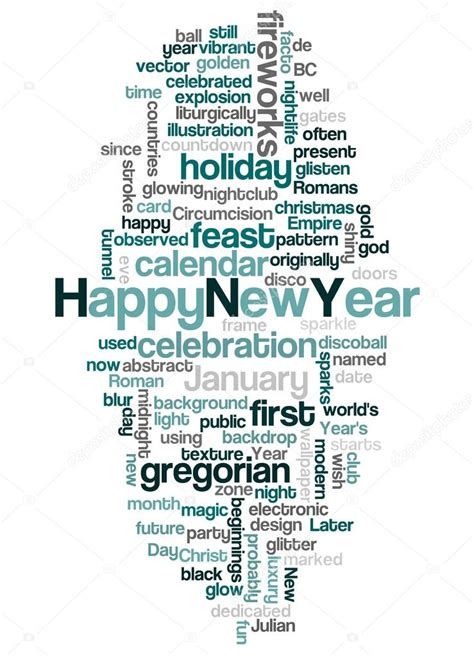 words associated with new year word cloud of happy new year and its related words stock