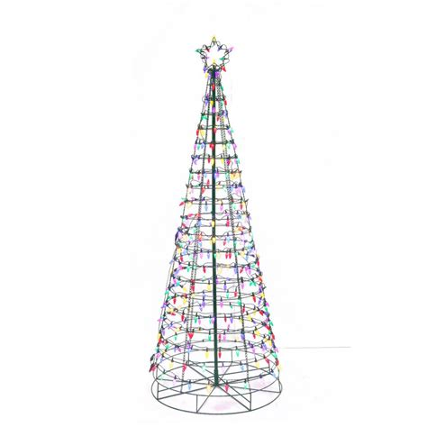 blue and silver cone christmas tree home accents 72 in led multi color cone tree with 7407030g 02uho the home depot