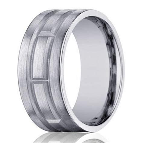 geometric pattern ring 8mm men s 14k white gold ring w geometric pattern