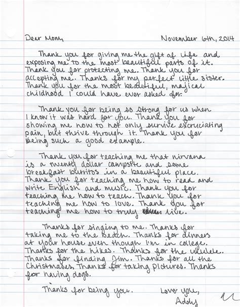 thank you letter to my parents on my birthday a thank you letter for thanksgiving a string of pearls