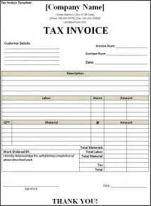 Tax Invoice Template by Tax Invoice Template Free Word S Templates