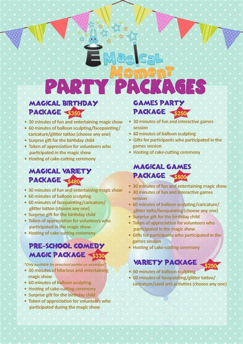 kids birthday party packages e magical moment