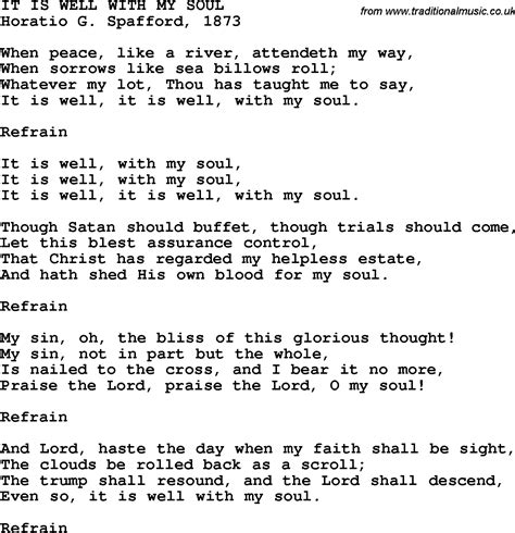 printable lyrics it is well with my soul country southern and bluegrass gospel song it is well
