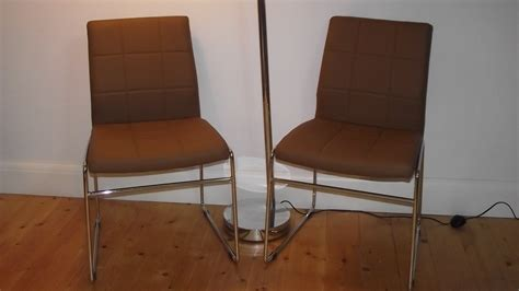 Inexpensive Vintage Furniture Pair Of Retro Dining Chairs With Chrome Legs Buy