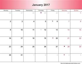january calendar template january 2017 calendar 6 templates landscape printable