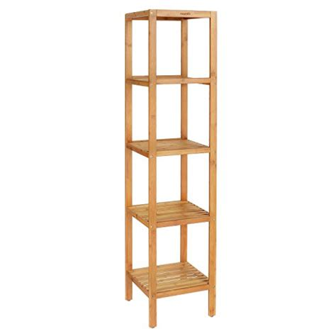 Free Standing Shelves For Bathroom Homfa Bamboo Bathroom Shelf 5 Tier Tower Free Standing Rack Import It All