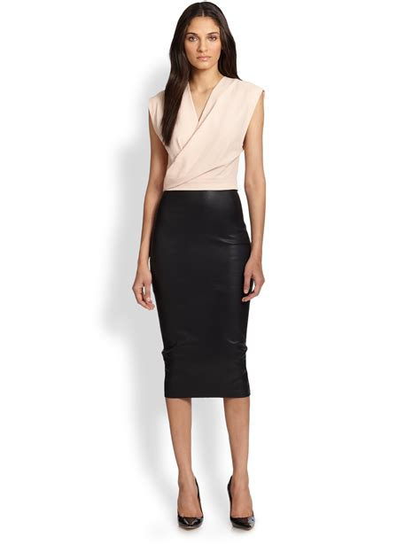 robert rodriguez stretch leather pencil skirt in black lyst