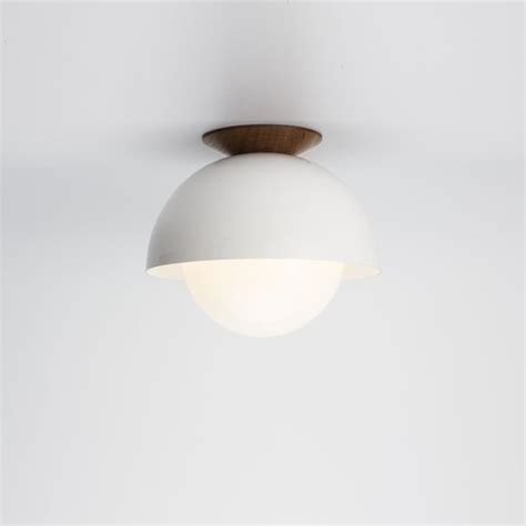 Dome Ceiling Lights Flush Dome White Ceiling Light With Ealnut Trim Mid