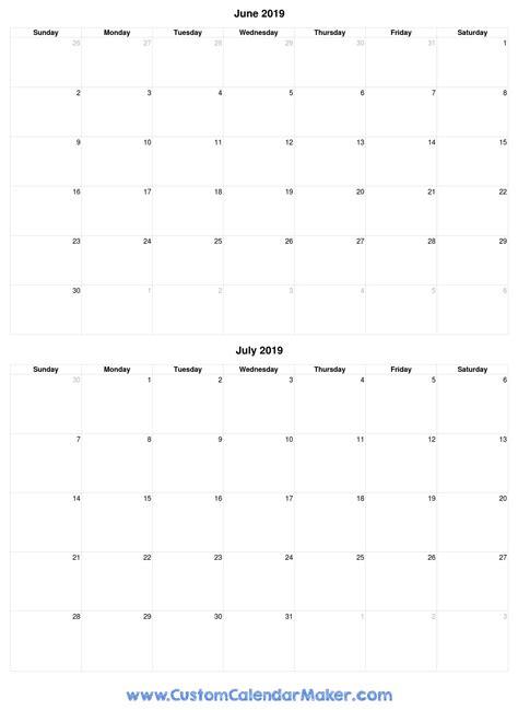 june  july   printable calendar template