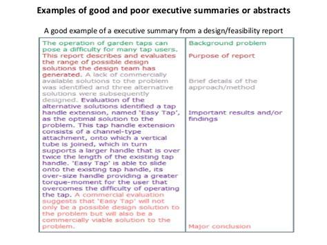 how to write a good executive summary