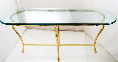 Glass and Brass Console table Jensen Style
