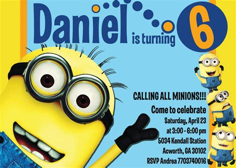 minion invitation card template minion birthday invitations minion birthday invitations