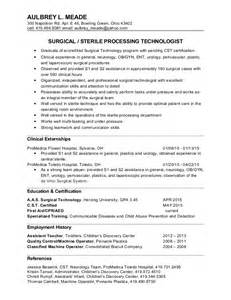 surgical tech resume sle aulbrey meade surgical tech resume
