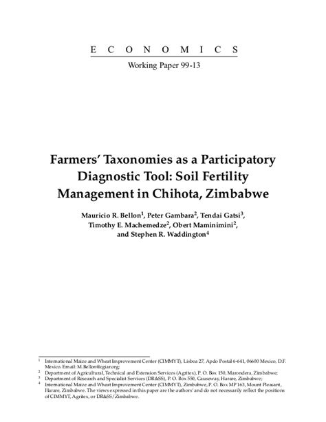 Farmers' Taxonomies as a Participatory Diagnostic Tool