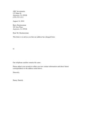 business letter format change address change of business address letter the letter sle
