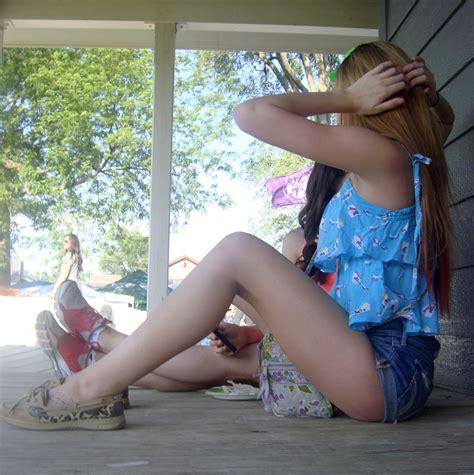 allyourpix teen shorts two teens outside in denim shorts