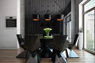 Charmant Chaise Moderne De Salle A Manger #3: salle-manger-moderne-sombre-chaises-table-noires-design-minimaliste-suspensions-noir-orange.jpg