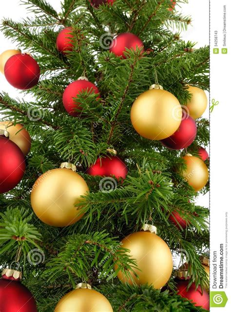 Red Gold And Silver Christmas Decorations Christmas Tree Closeup Stock Image Image Of Ornament