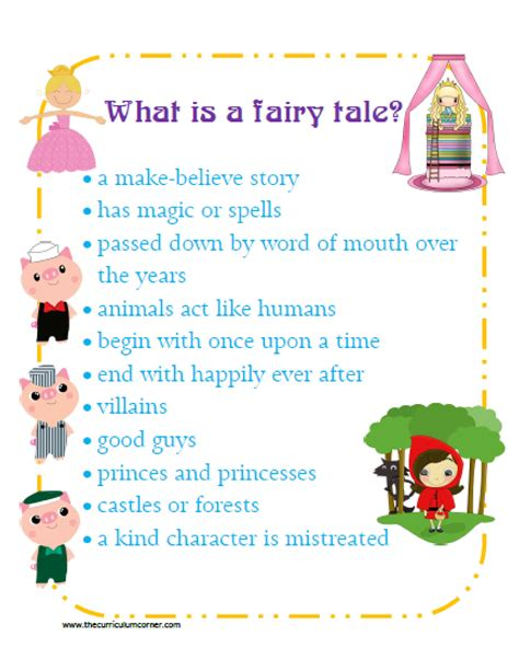 reading unit themes fairy tale reading unit anchor charts kindergarten and