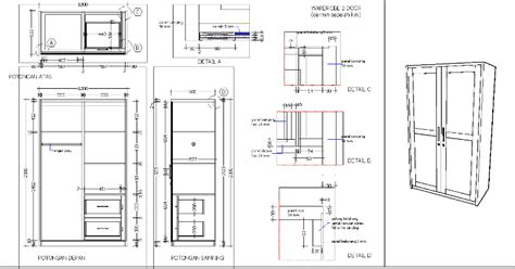 Wardrobe Drawing Software by Wardrobe With 2 Doors In Autocad Drawing Bibliocad