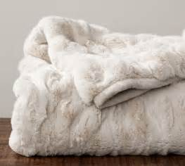 decke fellimitat ruched faux fur throw ivory pottery barn