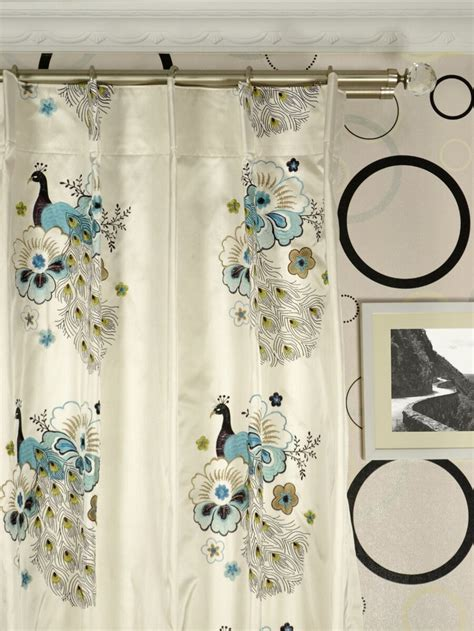 peacock window curtains silver beach embroidered peacocks single pinch pleat faux