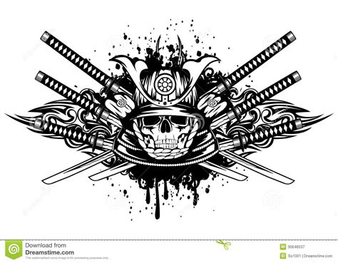 skull in samurai helmet and crossed samurai swords royalty