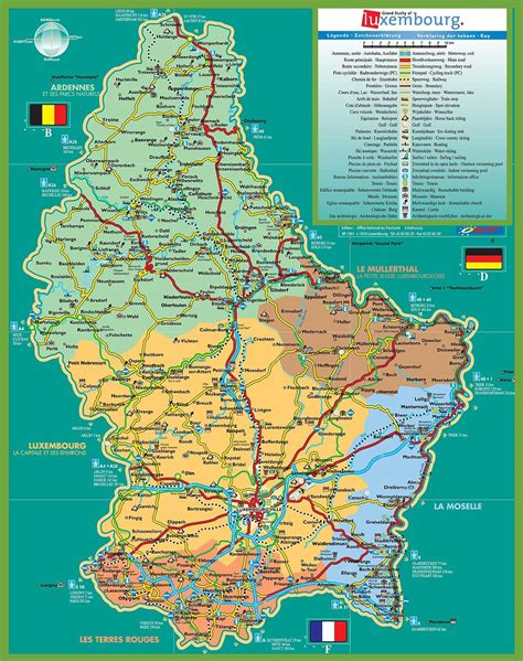 Large detailed tourist map of Luxembourg