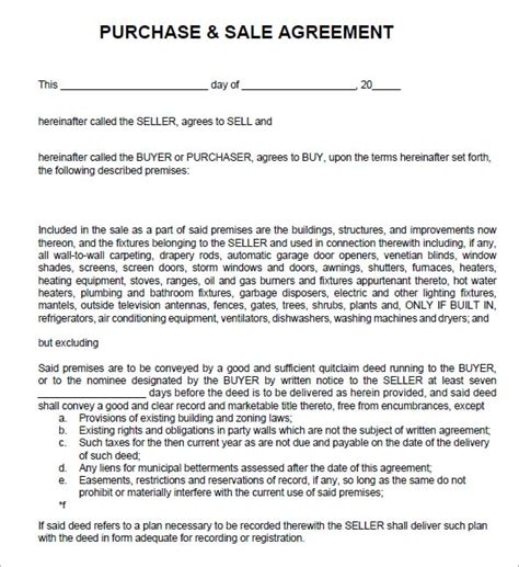6 Free Sales Agreement Templates Excel Pdf Formats Contract For Sale Of Goods Template Free