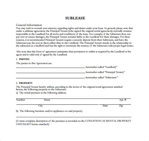 free sublet lease agreement template sublease agreement 18 free documents in pdf word