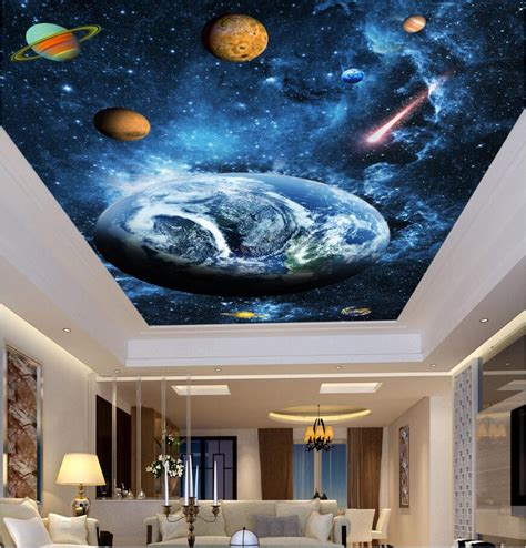 decor painting 3d ceiling murals wall paper sky blue dream planet decor