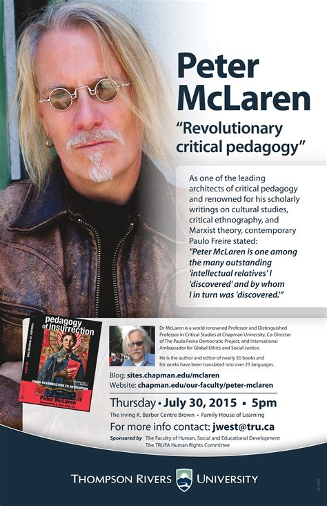 mclaren critical pedagogy mclaren to present on revolutionary critical