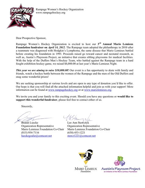 Sponsorship Letter Sports Team Zzzzzz Romeoville Rage S Hockey Club