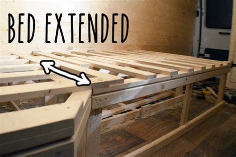 extending bed   diy van conversion vandog traveller