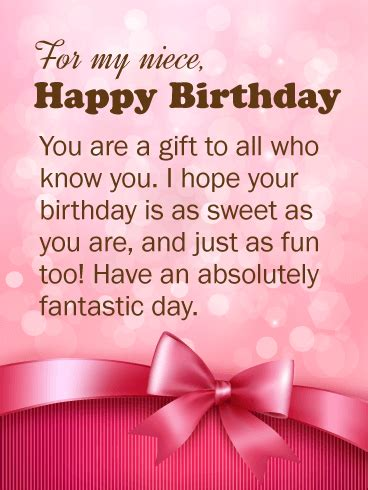 Happy Birthday Becks Our Gifts For You by You Are A Gift Happy Birthday Wishes Card For Niece