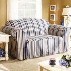 Walmart Sure Fit Slipcovers Sure Fit Indigo Stripe Sofa Slipcover Walmart Com