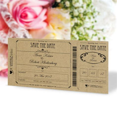 Save The Date Hochzeit by Save The Date Karte Hochzeit Vintage Boarding Pass