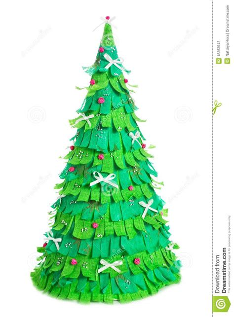 paper christmas tree on white background stock image