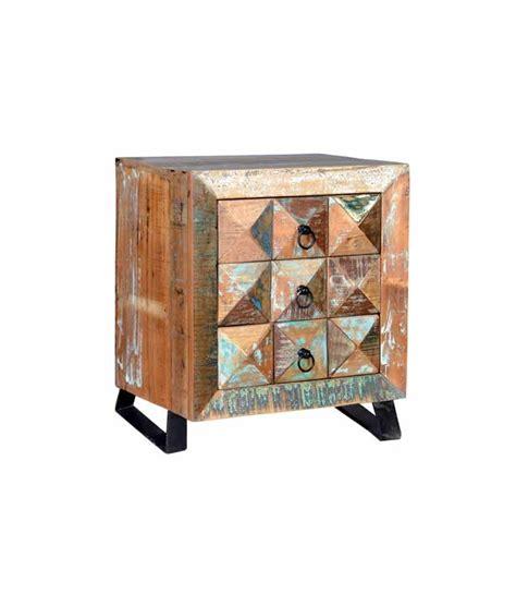 mesitas de noche madera comprar mesita vintage en madera reciclada con tres cajones