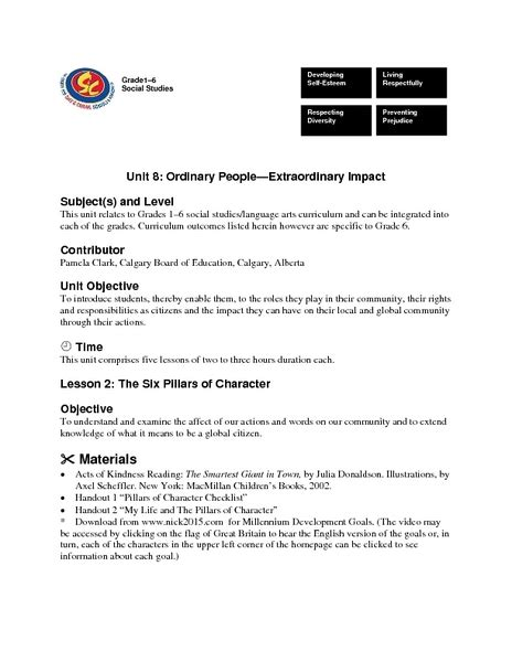 Six Pillars Of Character Essay by Six Pillars Of Character Essay