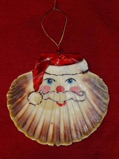 fair isle scallop shell santa christmas ornaments