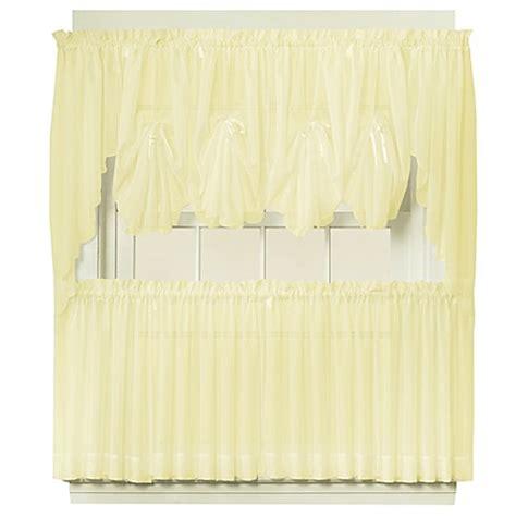 Sheer Tier Curtains Emelia Sheer Window Curtain Tier Pair In Yellow Bed Bath Beyond