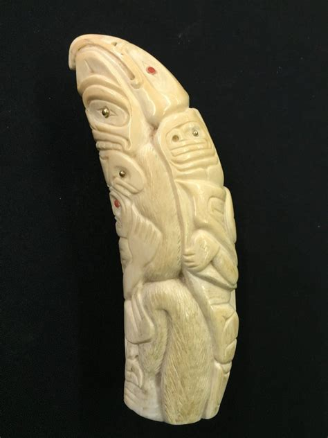 Marina Ivory marine ivory killer whale tooth with gold and coral inlay