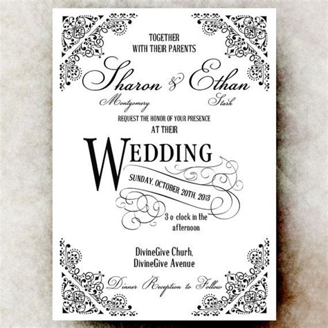 black and white wedding invitations templates black and white wedding invitation vintage wedding