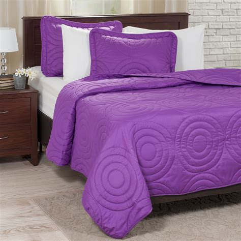 Purple Quilt King by Lavish Home Solid Embossed 3 Quilt Set King Purple